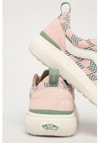 Różowe buty sportowe Vans na średnim obcasie, na obcasie, z cholewką, na sznurówki