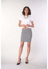 Czarna spódnica ołówkowa Nommo w kratkę, krótka