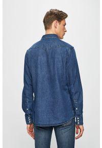 Niebieska koszula Wrangler z klasycznym kołnierzykiem, gładkie, długa