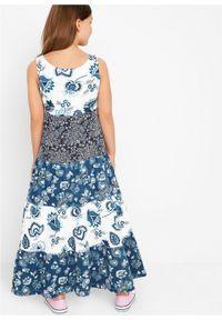 Biała sukienka bonprix z aplikacjami, bez rękawów, na lato