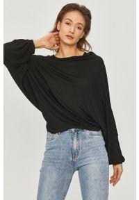 Czarna bluzka Answear Lab z długim rękawem, gładkie, na co dzień, długa