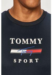 Niebieski t-shirt Tommy Sport sportowy, na co dzień