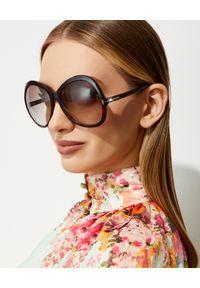 Tom Ford - TOM FORD - Brązowe okulary przeciwsłoneczne Rose. Kształt: okrągłe. Kolor: brązowy