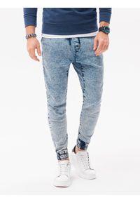 Ombre Clothing - Spodnie męskie jeansowe joggery P1027 - jasnoniebieskie - XXL. Kolor: niebieski. Materiał: jeans. Styl: klasyczny