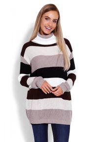 Sweter z golfem, w kolorowe wzory, długi