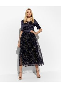 PESERICO - Granatowa spódnica z haftami. Kolor: niebieski. Materiał: jedwab, materiał. Wzór: haft