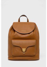 Coccinelle - Plecak skórzany Beat Soft. Kolor: brązowy. Materiał: skóra