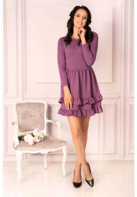 Fioletowa sukienka wizytowa Merribel z falbankami, mini