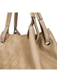 Beżowa torebka worek Wittchen na ramię, z haftami, skórzana, klasyczna