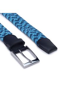 Gino Rossi - Pasek Męski GINO ROSSI - O3M2-010-SS21 Blue. Kolor: niebieski. Materiał: materiał, skóra
