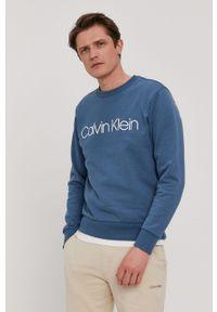 Niebieska bluza nierozpinana Calvin Klein bez kaptura, melanż, casualowa