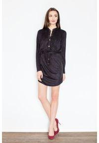 Figl - Czarna Sukienka o Koszulowym Kroju Zapinana na Zatrzaski. Kolor: czarny. Materiał: poliester, elastan. Typ sukienki: koszulowe