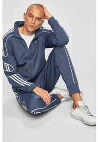 Niebieska bluza rozpinana adidas Originals bez kaptura, raglanowy rękaw, casualowa