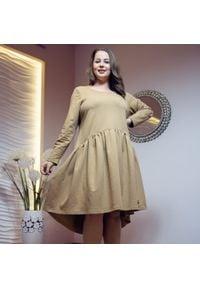 Beżowa sukienka dla puszystych Moda Size Plus Iwanek z krótkim rękawem, na jesień