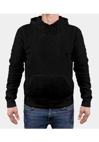 MegaKoszulki - Bluza męska premium z kapturem - czarna (gładka, bez nadruku). Typ kołnierza: kaptur. Kolor: czarny. Materiał: bawełna. Wzór: gładki
