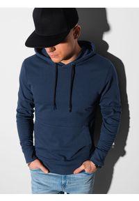 Ombre Clothing - Bluza męska z kapturem B1154 - granatowa - XXL. Typ kołnierza: kaptur. Kolor: niebieski. Materiał: poliester, bawełna