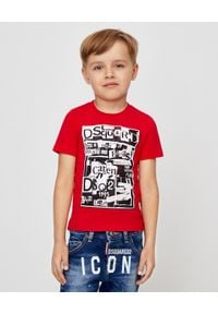 DSQUARED2 KIDS - Czerwony t-shirt z nadrukiem 4-14 lat. Kolor: czerwony. Materiał: bawełna. Wzór: nadruk. Sezon: lato