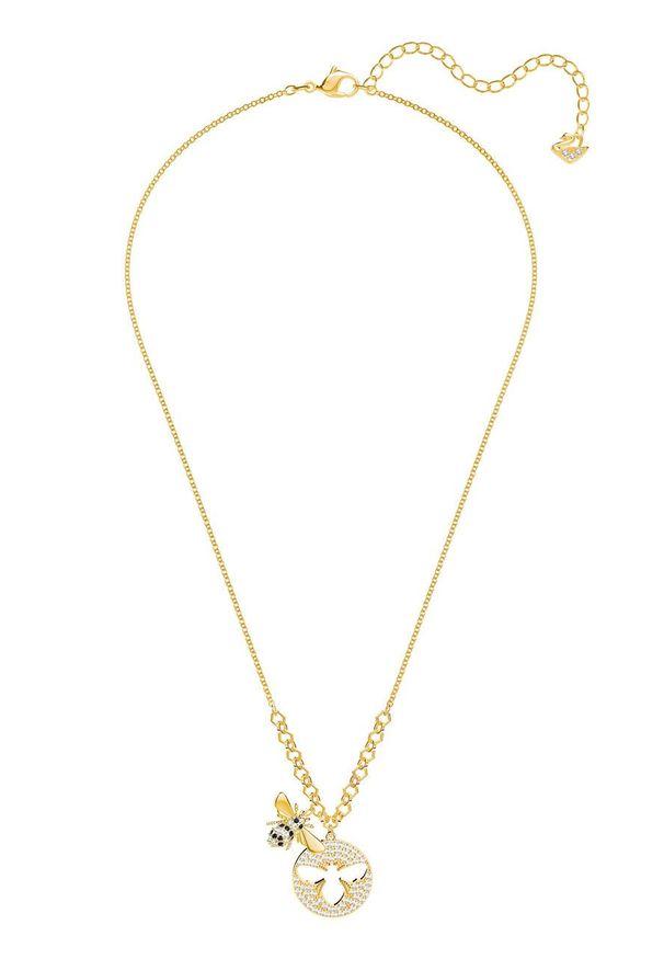 Złoty naszyjnik Swarovski metalowy, z kryształem