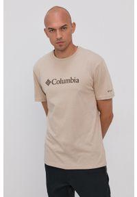 columbia - Columbia - T-shirt. Okazja: na co dzień. Kolor: beżowy. Materiał: bawełna. Wzór: nadruk. Styl: casual