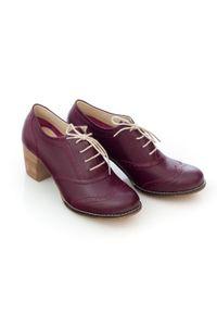 Zapato - sznurowane półbuty na 6 cm słupku - skóra naturalna - model 251 - kolor bordowy. Kolor: czerwony. Materiał: skóra. Obcas: na słupku