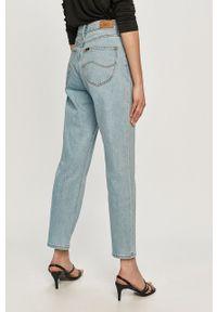Niebieskie proste jeansy Lee gładkie