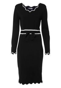 Sukienka dzianinowa z wiązanym paskiem bonprix czarno-biały. Kolor: czarny. Materiał: dzianina