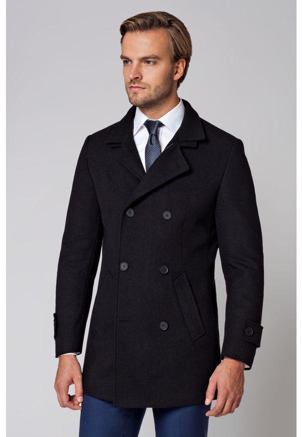 Czarny płaszcz Lancerto z podwójnym kołnierzykiem, na co dzień, elegancki
