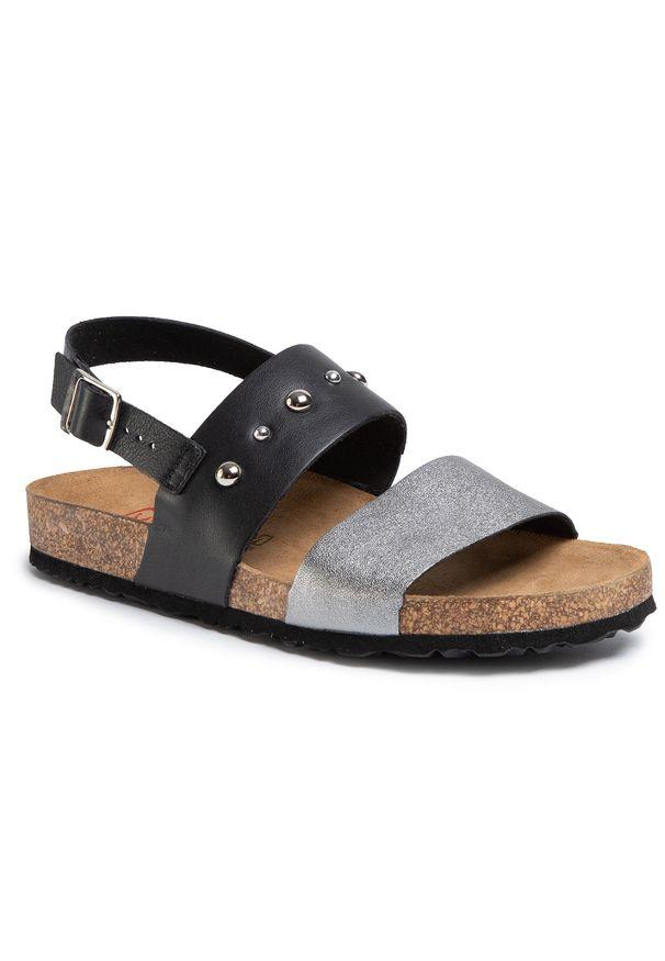 Czarne sandały Nik casualowe, z aplikacjami, na co dzień