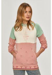 Różowa bluza Femi Stories z klasycznym kołnierzykiem, raglanowy rękaw