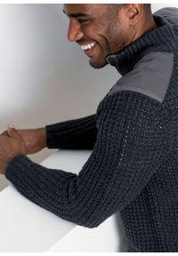 Sweter ze stójką i wstawkami z tkaniny bonprix antracytowy melanż. Typ kołnierza: kołnierzyk stójkowy. Kolor: szary. Materiał: materiał, tkanina, akryl. Wzór: melanż