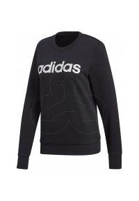 Czarna bluza Adidas sportowa, z kontrastowym kołnierzykiem, na wiosnę, w kolorowe wzory