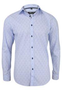 Niebieska elegancka koszula Bello z długim rękawem, paisley