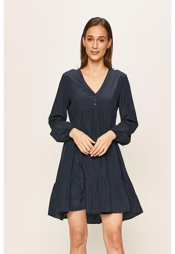 Niebieska sukienka Vila rozkloszowana, casualowa, na co dzień, mini