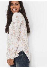 Biała bluzka bonprix z dekoltem w serek, elegancka, w kwiaty #7