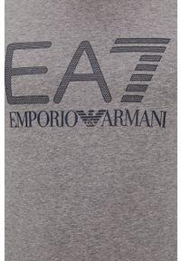 EA7 Emporio Armani - T-shirt. Okazja: na co dzień. Kolor: szary. Materiał: dzianina. Wzór: nadruk. Styl: casual