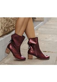 Czerwone botki Zapato z cholewką za kostkę, na zimę, w kolorowe wzory