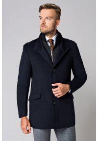 Lancerto - Płaszcz Granatowy Teofilo. Typ kołnierza: kołnierzyk stójkowy. Kolor: niebieski. Materiał: syntetyk, materiał, wełna, wiskoza, skóra, poliamid, bawełna. Długość: krótkie. Sezon: zima, jesień. Styl: elegancki