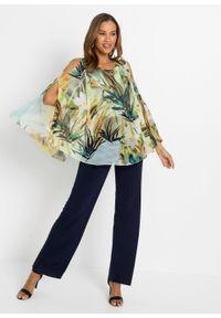 Kombinezon w optyce bluzki ze spodniami bonprix czarno-żółto-zielony w roślinny wzór. Kolor: czarny