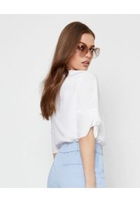 PESERICO - Biała bluzka z aplikacją. Kolor: biały. Materiał: bawełna. Wzór: aplikacja