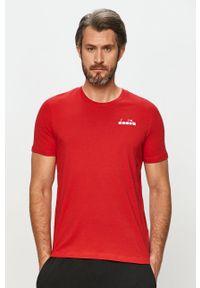 Brązowy t-shirt Diadora casualowy, na co dzień