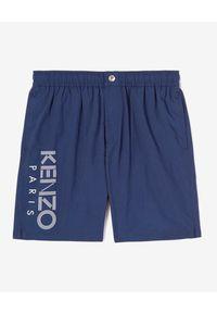 Kenzo - KENZO - Granatowe kąpielówki z logo. Kolor: niebieski. Wzór: nadruk