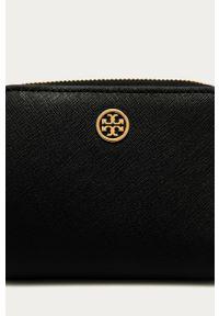 Czarny portfel Tory Burch gładki