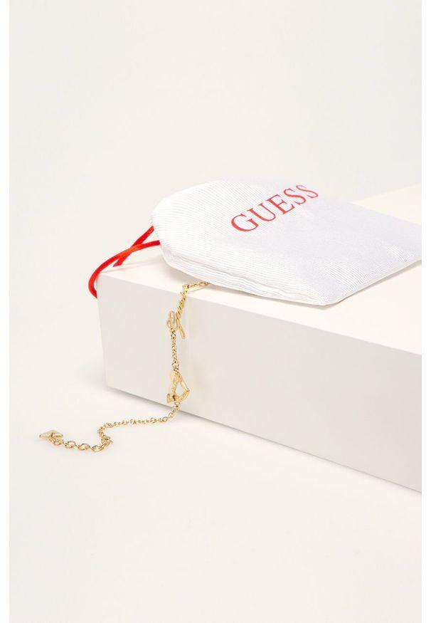 Złota bransoletka Guess Jeans z aplikacjami, ze stali
