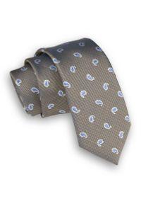 Alties - Szaro-Beżowy Elegancki Krawat Męski -ALTIES- 6 cm, Łezki, Niebieski Wzór Paisley. Kolor: beżowy, brązowy, wielokolorowy. Materiał: tkanina. Wzór: paisley. Styl: elegancki