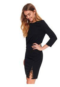 Czarna sukienka TOP SECRET na wiosnę, z dekoltem w łódkę, midi