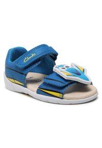 Clarks - Sandały CLARKS - Zora Nemo T 261583886 Blue Leather. Kolor: niebieski. Materiał: skóra. Wzór: aplikacja