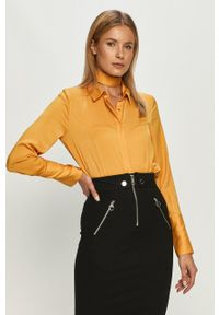 Guess Jeans - Koszula. Okazja: na co dzień. Kolor: żółty. Materiał: jeans. Długość rękawa: długi rękaw. Długość: długie. Wzór: gładki. Styl: casual