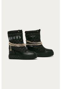 Czarne śniegowce Guess Jeans na koturnie, na sznurówki, z cholewką, z okrągłym noskiem