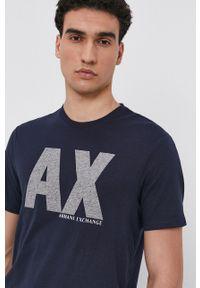 Armani Exchange - T-shirt. Kolor: niebieski. Materiał: dzianina. Wzór: nadruk