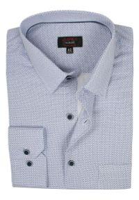 Jurel - Biała Klasyczna Koszula Męska, Długi Rękaw - JUREL - 100% Bawełna, w Granatowe Koła, Kropki. Okazja: do pracy, na spotkanie biznesowe. Kolor: niebieski. Materiał: bawełna. Długość rękawa: długi rękaw. Długość: długie. Wzór: kropki. Styl: klasyczny